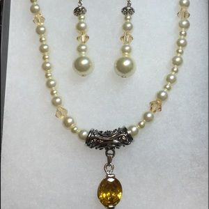 Citrine Oval, Sterling,Necklace Pearls & Earrings